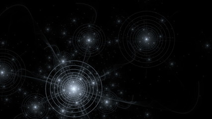 Fantasy space scene, imaginary star chart, seamless loop