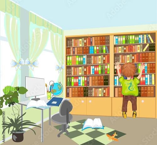Boy and bookshelf