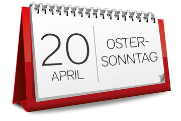 Kalender rot 20 April Ostersonntag Ostern