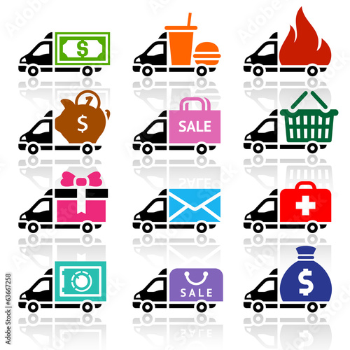 Delivery truck flat icons set