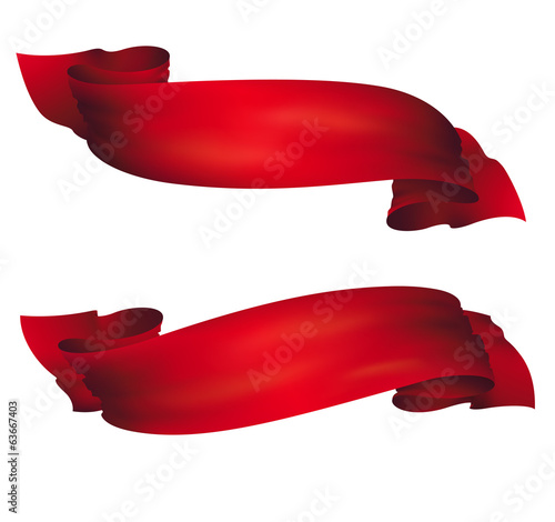 wavy red banners , vector set