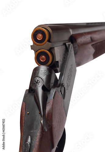 Open double-barrelled shotgun two right rear closeup isolated