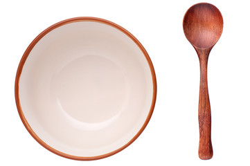 plate and wooden spoon
