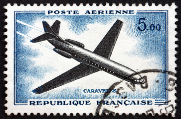 Postage stamp France 1957 Caravelle, Airliner