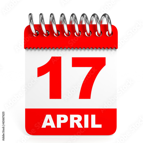 Calendar on white background. 17 April.