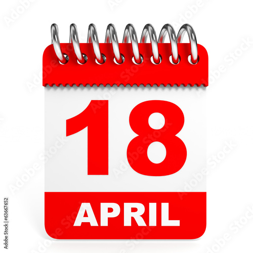 Calendar on white background. 18 April.