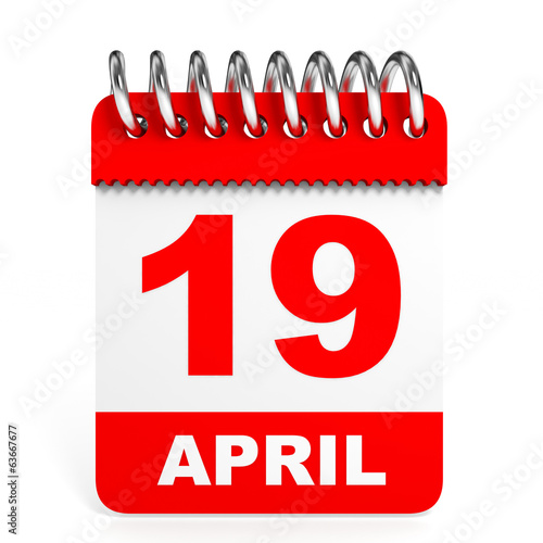 Calendar on white background. 19 April.