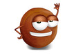 Cool, funny and confident pluot cartoon character
