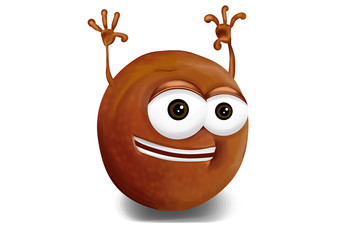 Happy pluot cartoon character, smiling and waving hands.