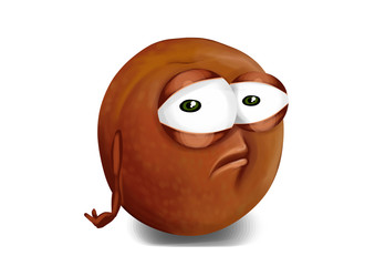 Sad brown, purple pluot cartoon, a depressed character.