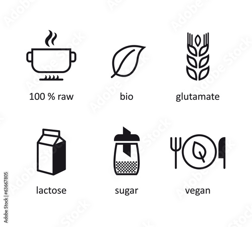 bio organic icon of food. Eco icons