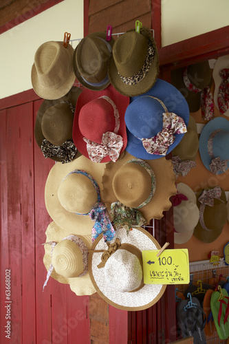many women hat in shop in thailand
