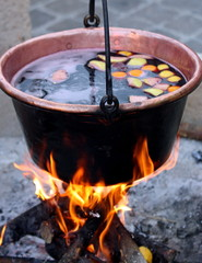 copper cauldron with the tasty mulled wine