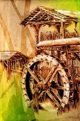 antique watermill art drawing handmade