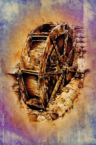 antique watermill art drawing handmade