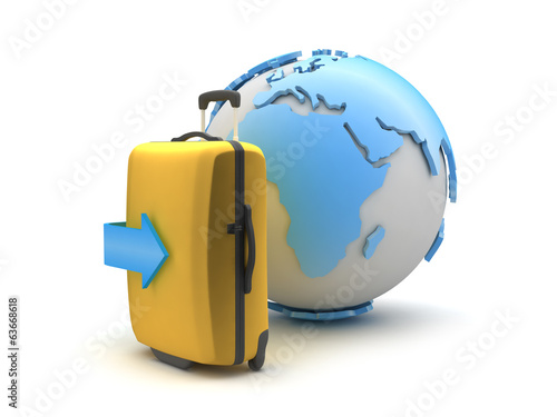 Suitcase and earth globe on white background