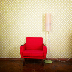 Vintage room with old fashioned armchair, standart lamp, old fas