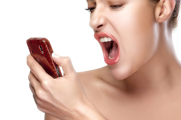 Angry Young Woman Screaming on the Phone