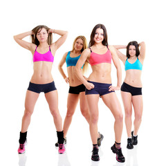 happy fitness girls, portrait sport young women with perfect bod
