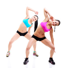 fitness girls, portrait of sport young women with perfect bodies