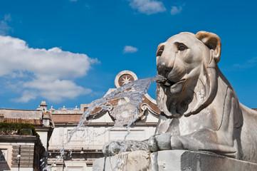 Egyptian lion statue