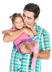 Father carrying and kissing his funny small multiracial daughter