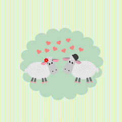 postcard  with loving couple sheep