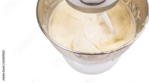Mixing Cake Ingredients Mixer Bowl