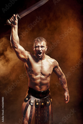 Gladiator with sword in smoke