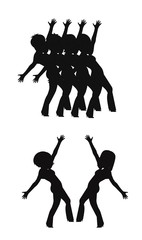 chorus line dancers in silhouette