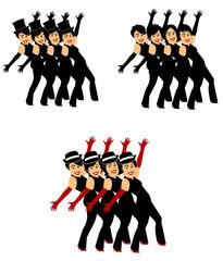 chorus line dancers in 3 styles