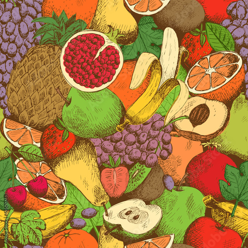 Bright juicy fresh fruits seamless pattern