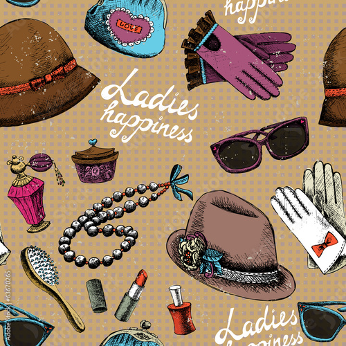 Women pattern with gloves glasses hat perfume and other