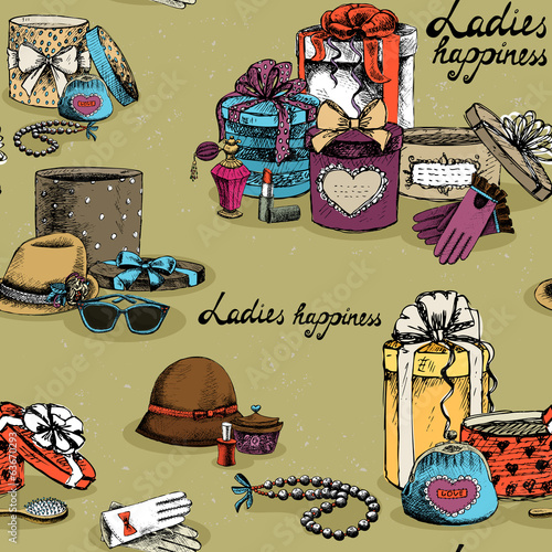 Seamless woman accessory with gift boxes
