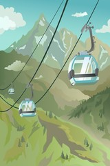 Funicular in the mountains in the warm season