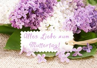 """""""Alles Liebe zum Muttertag"""" - Fliederblüten mit Schild"""