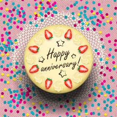 Icecream anniversary cake decorated with strawberries