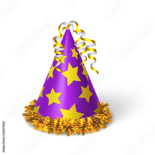 Birthday violet hat with yellow stars