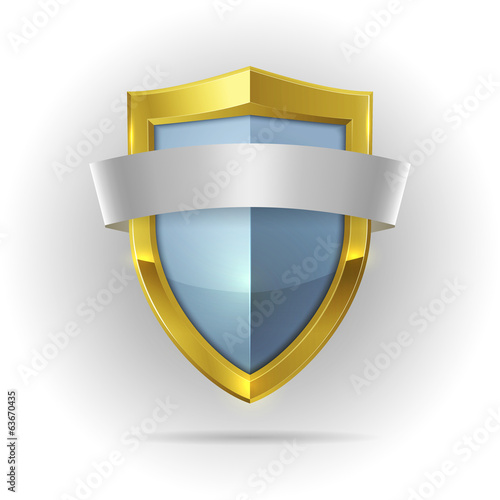 Guard shield with blank ribbon emblem