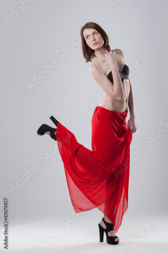 Image of pretty gorgeous brunette posing in studio