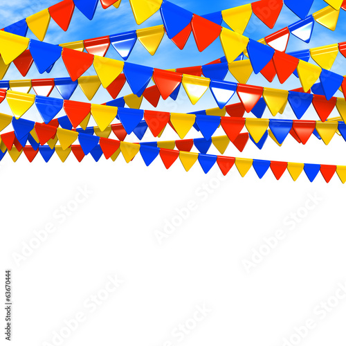 Colorful Flag Garland On Sky With Text Space