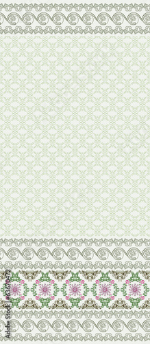 seamless pattern with wide border in green colors
