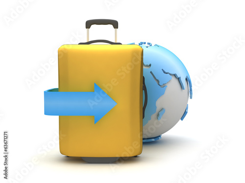 Earth globe and travel bag on white background