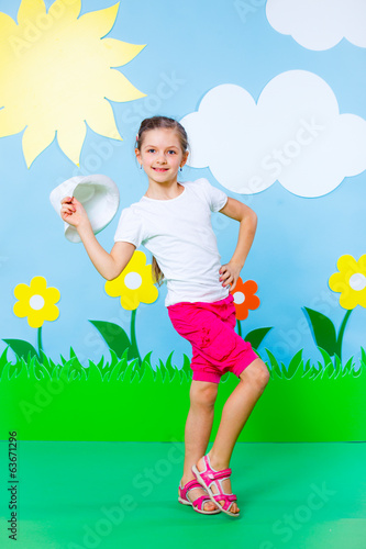 Young girl in summer studio