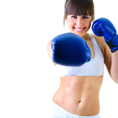 sport young woman boxing gloves, face of fitness girl studio sho