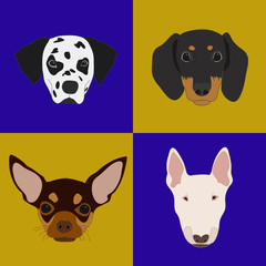 Icons dogs. Different breeds of dogs.