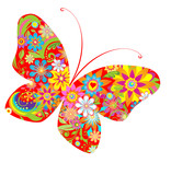 Fototapety Abstract flowers butterfly