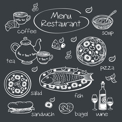 Restaurant menu. Drawing with chalk on a blackboard.