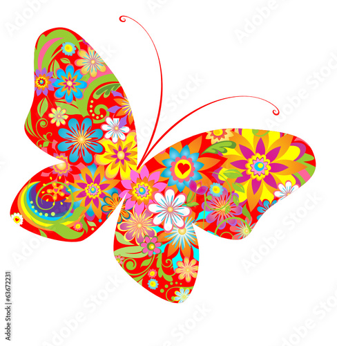 Abstract flowers butterfly