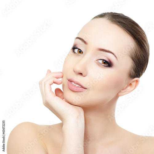 Portrait of beautiful young fresh woman, face and hand closeup